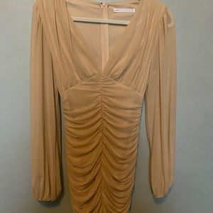 NUDE RUCHED MESH BODYCON DRESS